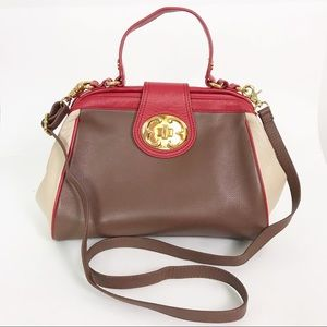 Emma Fox Leather Satchel Shoulder Bag Brown Red